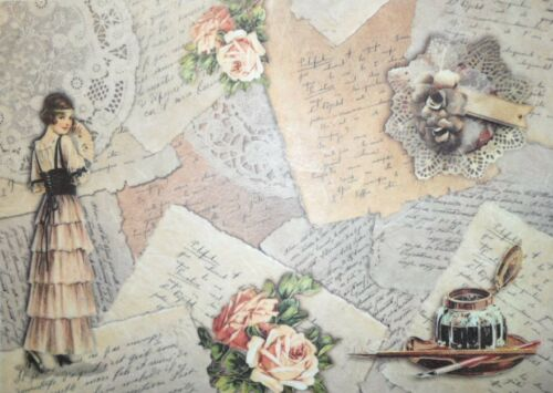 Rice Paper Letters and Woman for Decoupage Scrapbook and Crafting 255