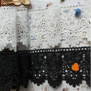 Cotton Blend Hollow Lace Trim Skirt Hem Decoration DIY Wedding Sewing 1yd Black