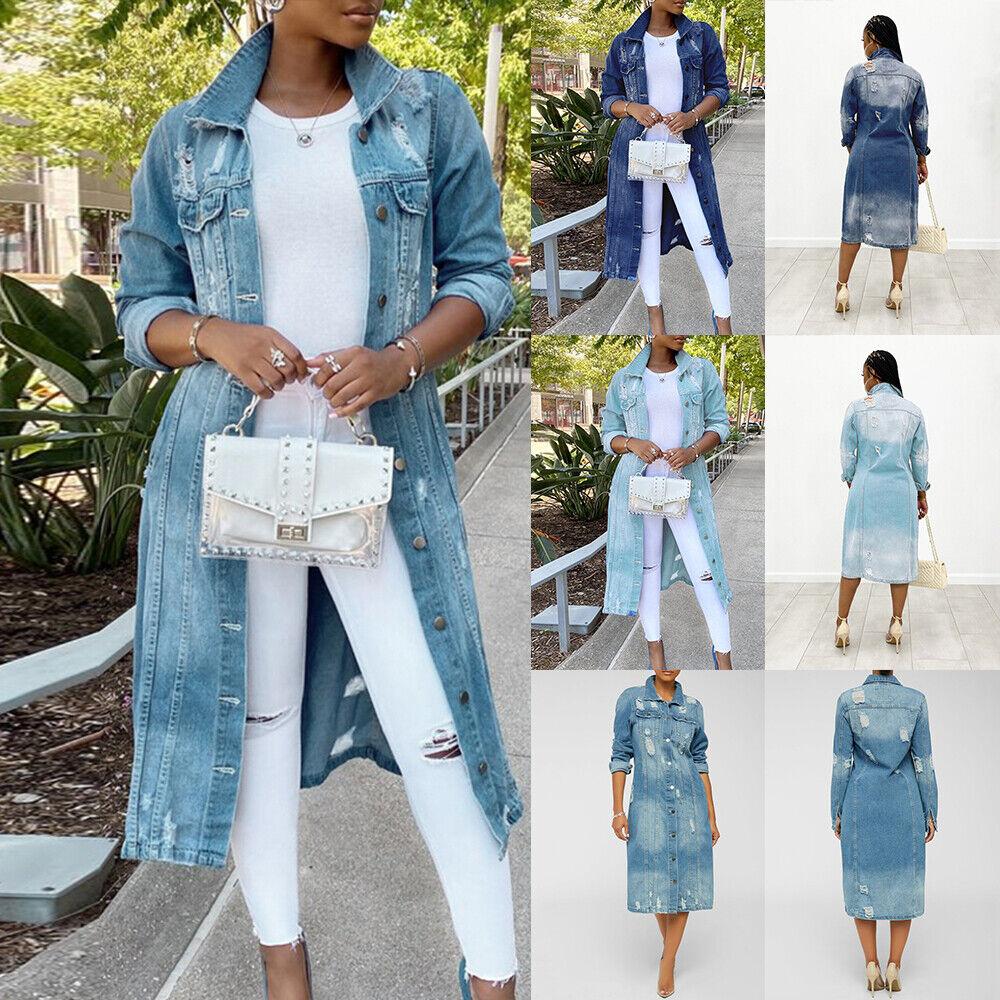 Womens Denim Long Jacket Coats Boyfriend Oversized Trench Coat Cardigan Outwear