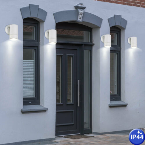 2x exterior lamps downlights white courtyard entrance lighting wall luminaires