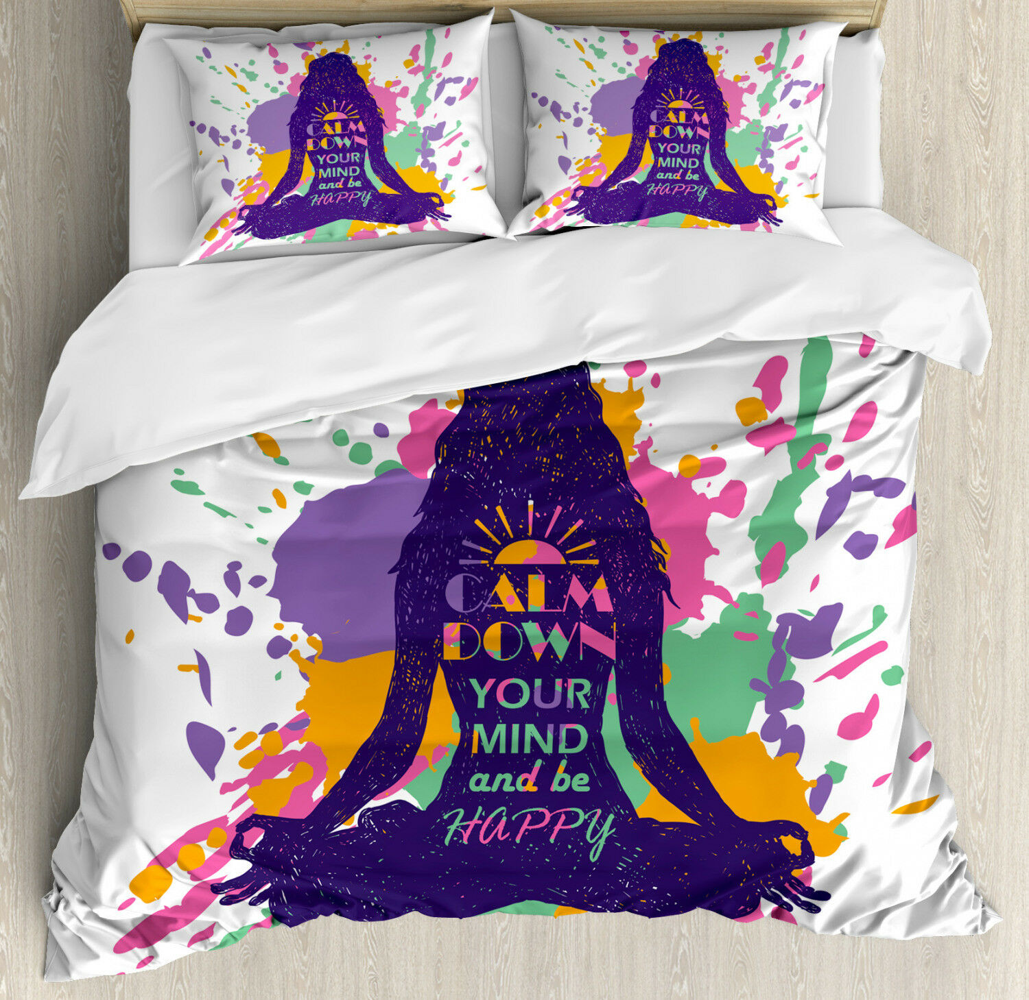 Modern Duvet Cover Set with Pillow Shams Happy Quote Calm Down Print
