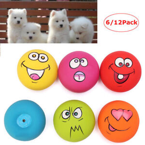 12PC-UNIEX-LATEX-DOG-PUPPY-PLAY-SQUEAKY-BALL-WITH-FACE-FETCH-PET-TOY-UK