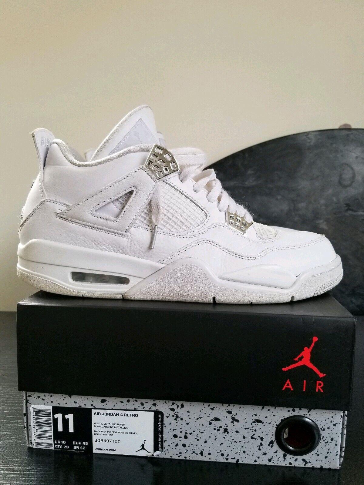 RARE Nike Air Jordan Retro 4 IV 2017 Pure Money WHITE Silver Basketball