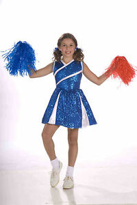 f91c0adca53 Details about Girls Sassy Cheerleader Costume Blue and White Cheer Dress  Size Small 4-6