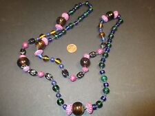 """Artisan Necklace - Glass & Metal Painted Beads: All Hand Knotted- 41"""" Multicolor"""