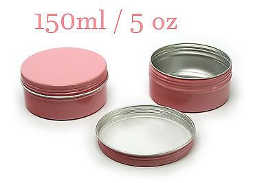 Empty Aluminium Tin Pot Container Pink Round Box Screw Lid 30/50/60/80/100/150ml