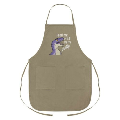 Velociraptor Feed Me and Tell Me I/'m Pretty Dinosaur Funny Apron with Pockets