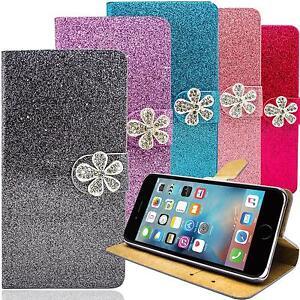 Glitzer-Handy-Tasche-fuer-iPhone-Huawei-Schutz-Huelle-Strass-Cover-Etui-Wallet-Bag