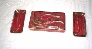 1950-YONA-334-CERAMIC-CIGARETTE-HOLDER-amp-2-ASHTRAYS-California-Made