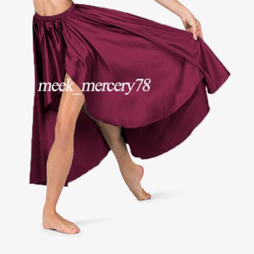 Satin Asymmetrical skirts High low costumes Ballet Dance wear Skirt Costume S73