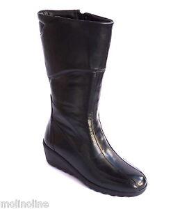 Vitello Donna Al Moda Pelle Nero Polpaccio Di Stivali Zeppa Con xqUX4wBq
