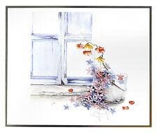 Blumen am Fenster Poster Kunstdruck Bild 33x39cm - Kostenloser Versand