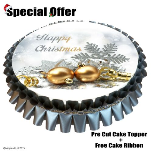 """7/""""// 18CM EDIBLE WAFER TOPPER DECORATION BEAUTIFUL HAPPY CHRISTMAS CAKE SET a//6"""