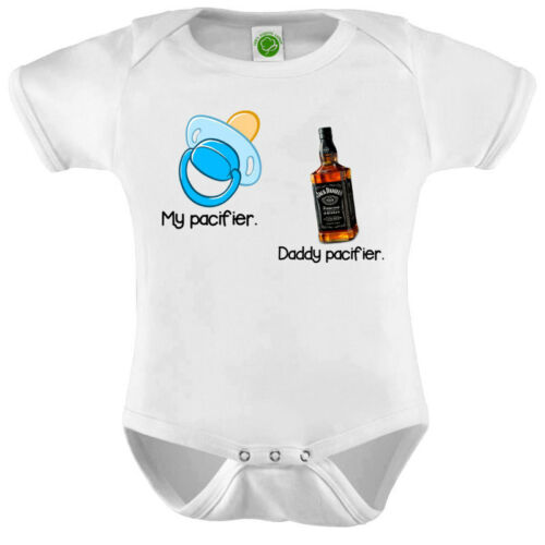 My Pacifier And Daddy Pacifier Onesie ORGANIC Cotton Romper Baby Shower Gift Fun