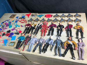 Lot-Of-16-Vintage-1992-1993-Star-Trek-Playmates-Figures-W-Stands-Weapons-Bags