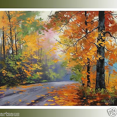 Large Autumn Oil Painting Fall Trees Road Trail Traditional