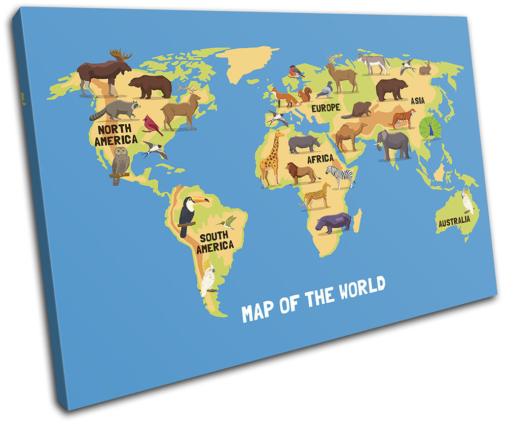 Animal Kids Nursery Nursery Nursery World Maps Flags SINGLE TELA parete arte foto stampa 553a62