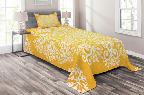 Floral Snowflakes Print Details about  /Yellow Quilted Coverlet /& Pillow Shams Set