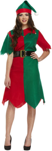 WOMENS HALF RED /& GREEN ELF SANTA XMAS COSTUME WITH HAT FANCY DRESS CHRISTMAS