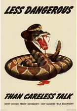 Less Dangerous Than Careless Talk Snake WWII War Propaganda Art Print Poster