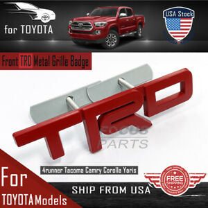 Red For TRD Grille Badge Front Emblem 3D Car Metal Logo with Screw Fittings