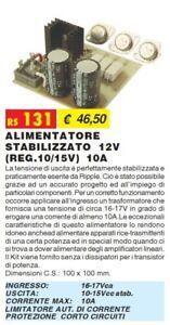 RS131 ALIMENTATORE STABILIZZATO 12V (REG.10/15V) ELSE KIT elettronica da saldare