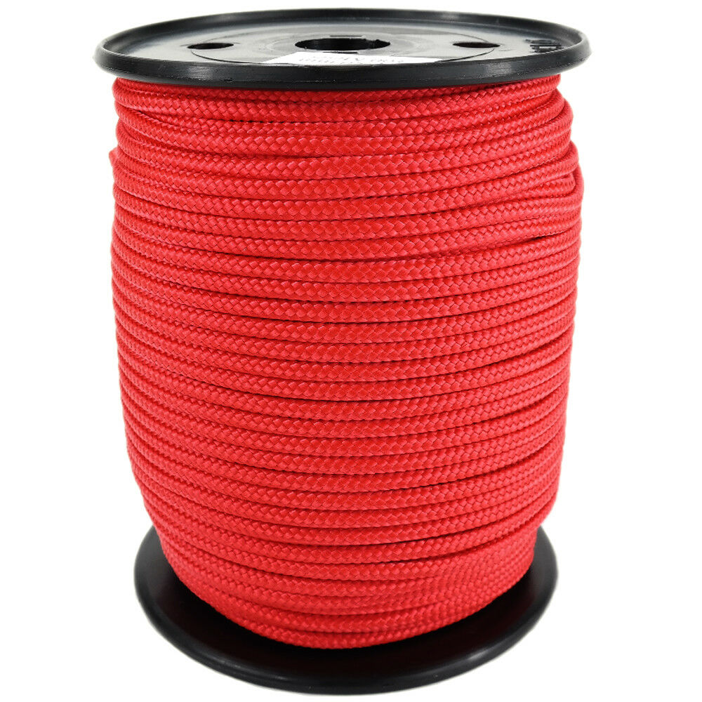 Polypropylene Rope PP 6mm 100m Red (0114) Braided