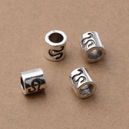 5Pcs Simple Zodiac Symbol Antiqued Silver 7.5mm Tube Large 4.5mm Hole Charm Bead