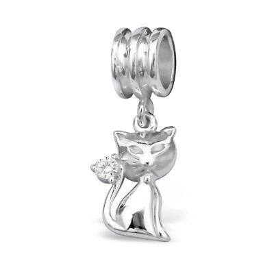 Cat Charm Bead 925 Sterling Silver