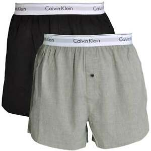 6387adbb1 Details about Calvin Klein Men's CK Modern Cotton Slim Fit Woven Boxers  Shorts 2-Pack, Blk/Gry