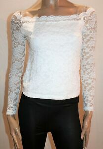 VALLEYGIRL-Brand-White-Lace-Off-Shoulders-Top-Size-M-BNWT-RG63