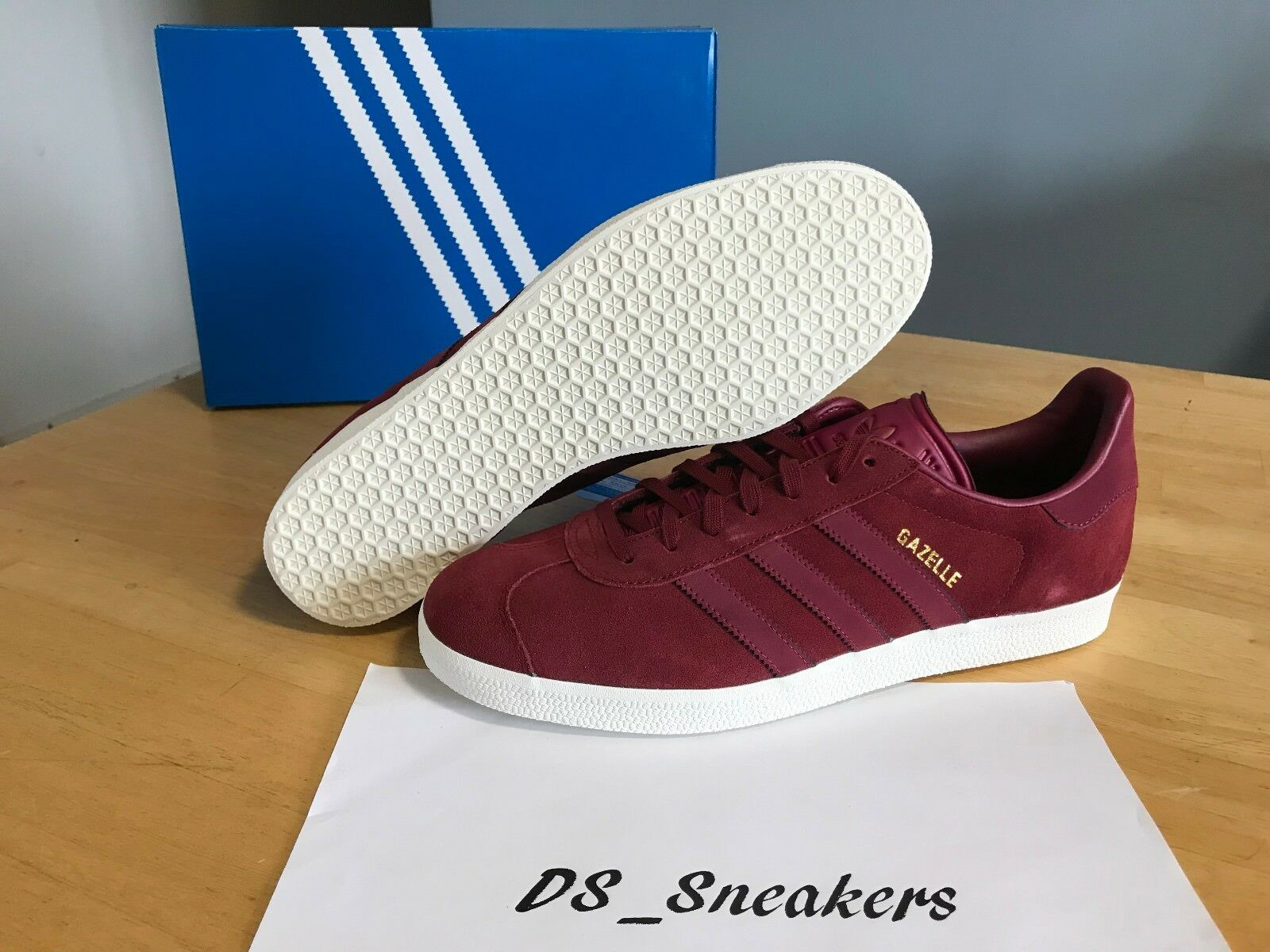 Adidas Gazelle Mens sz 11 Burgundy Suede Casual Sneakers Trainers Retro