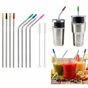 "For 30 Oz Yeti Tumbler 10.5"" Long Reusable Stainless Steel Drinking Straws Metal"