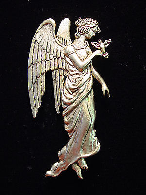 """JJ"" Jonette Jewelry Antique Gold Pewter 'ANGEL Holding BIRD in Hand' Pin"