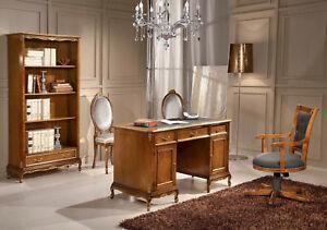Libreria E Scrivania Per Studio.Dettagli Su Libreria E Scrivania Con Poltrona E Sedie In Legno Noce E Foglia Oro Studio