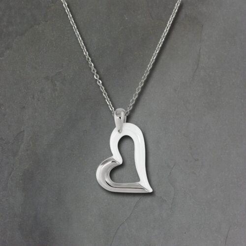Amello Damen Halskette Edelstahl Keramik 50cm Herz Schmuck silber weiß ESKX26W