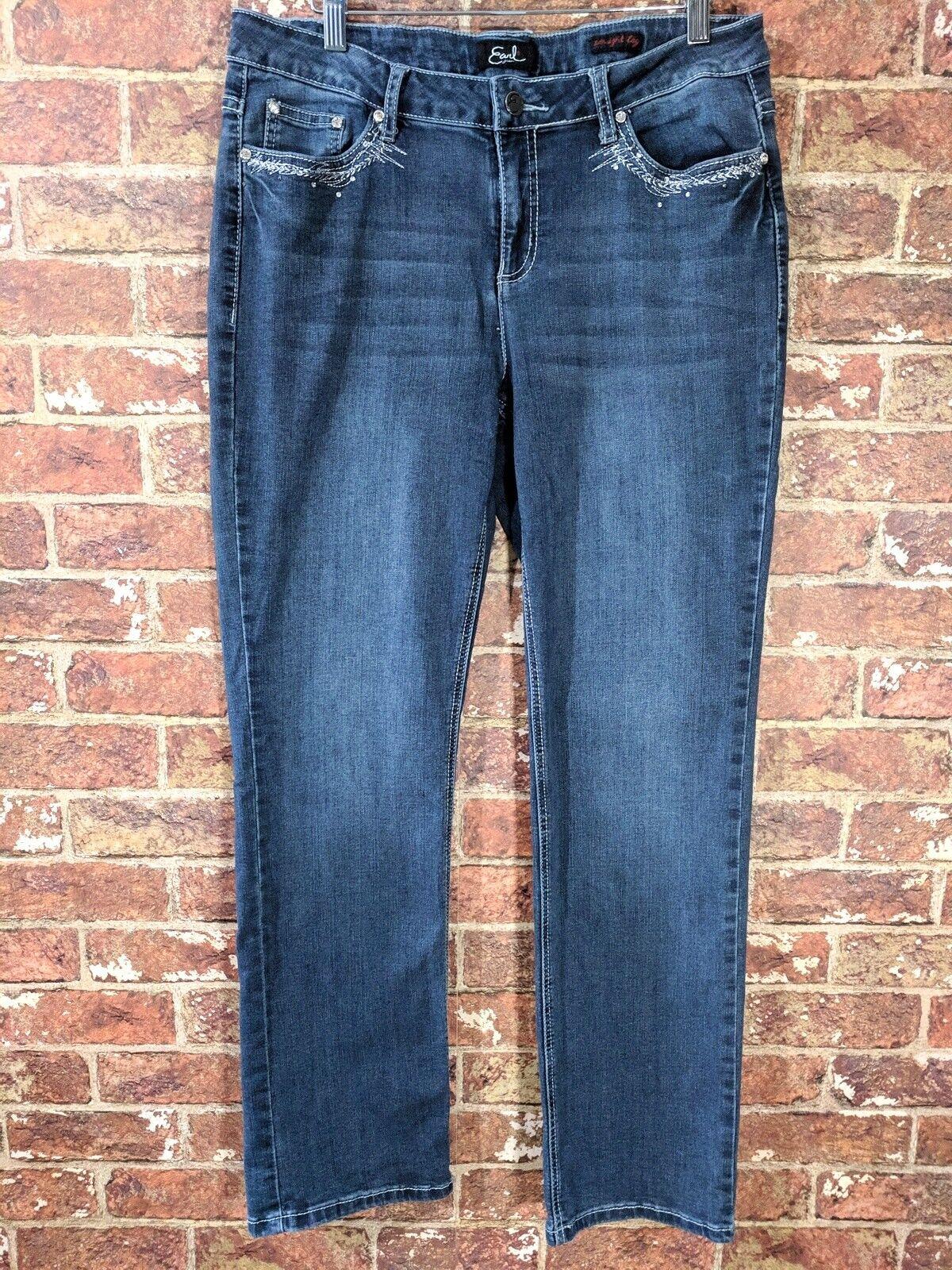 Earl Jeans 14 Jeans Stretch Denim Embellished Straight Leg
