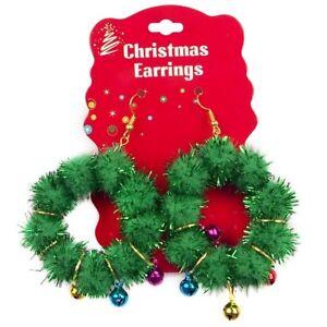 2 X Christmas Wreath Hoop Pom Pom Earrings Office Fancy Dress Party