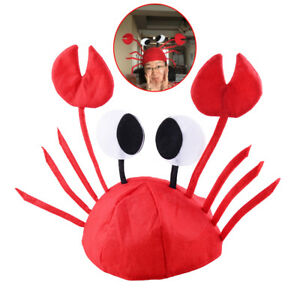 3D Krabben Mütze Rot Filz Tier Hut Einstellbare Größe Kostüm Party Crab Hat Cap