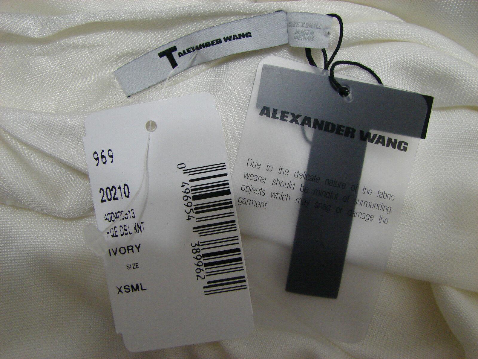 Alexander Wang Kleid Elfenbein Doppel Strick Dolmanärmel Low Cut Goldener Goldener Goldener Stab a86e60