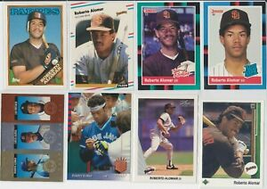 Lot-of-14-Roberto-Alomar-Cards-w-4-rookie-RC-1988-Donruss-Fleer-Topps-Blue-Jays