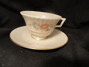 Vintage-Lenox-Porcelain-Cup-Saucer-set-Temple-Blaossom