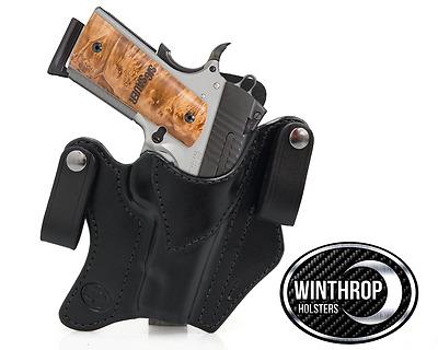 No Rail IWB Dual Snap Holster LEFT Hand Black 1911 4 inch Barrel No lasergrips