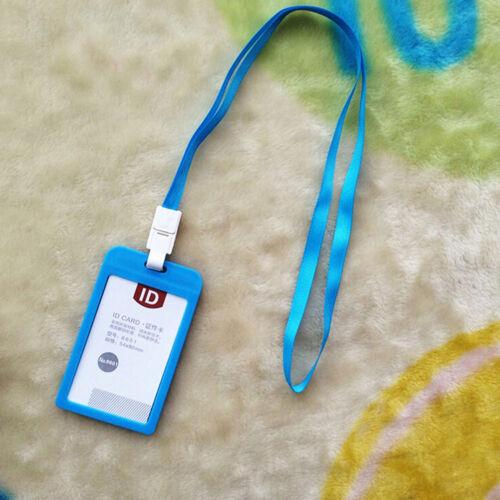 Vertical Plastic ID Name Card Holder Work Badge w// Lanyard FZ