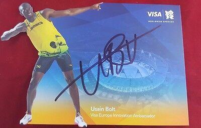 """Worlds Fastest Man"" Usain Bolt Hand Signed 8.5 x 6 Promr ..."