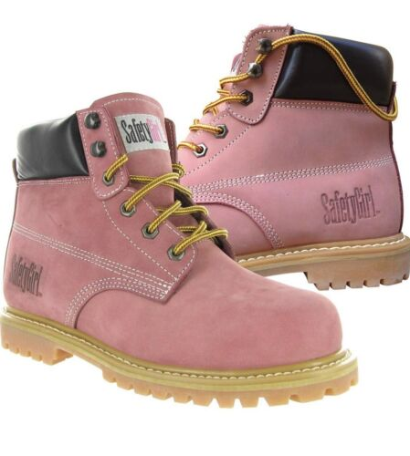 6-11 Women's Pink Suede Steel Toe Safety Construction Boots Sz