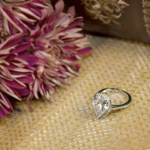 Womens 4.0 Carat PEAR CUT Wedding Engagement RING White Gold Plated Size 5-9