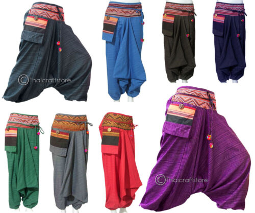 Gypsy rosso o Harem Pantaloni Nero Hmong grigio Baggy Hippie Donna Boho scuro Hammer viola Blu verde Uomo Pantaloni Aladdin marrone blu wqExxIHC
