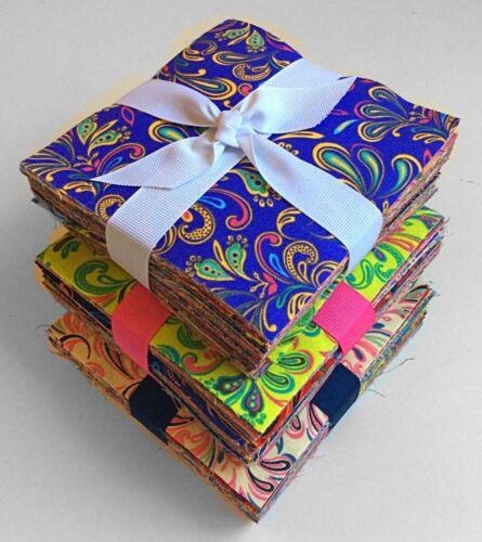"""102 Fleur De LIs Bright pre cut charm pack 5/"""" squares 100/% cotton fabric quilt"""