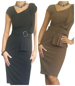 Ladies-Dress-Womens-Office-Work-Pencil-Bodycon-Business-New-Size-10-12-14-16-18